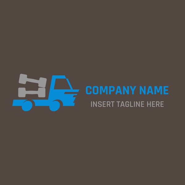 truck and dumbbell on brown background