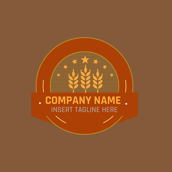 wheat badge icon on brown background