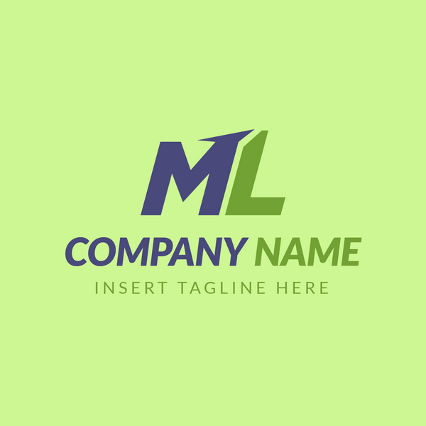 ML letters on green background