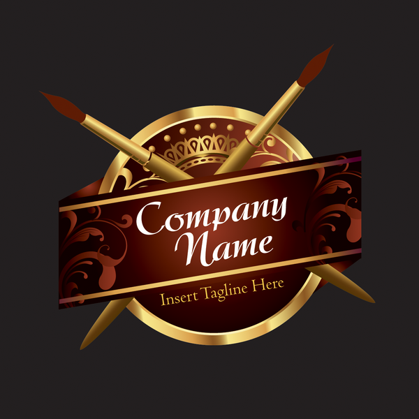 Two brush and banner on a badge on a blac color background