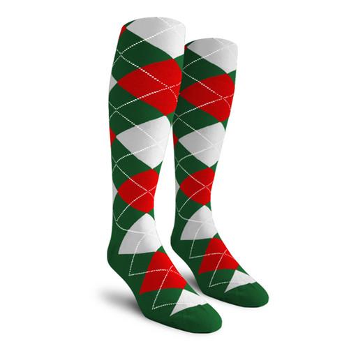 Argyle Socks - Ladies Over-the-Calf - 5L:  Dark Green/Red/White