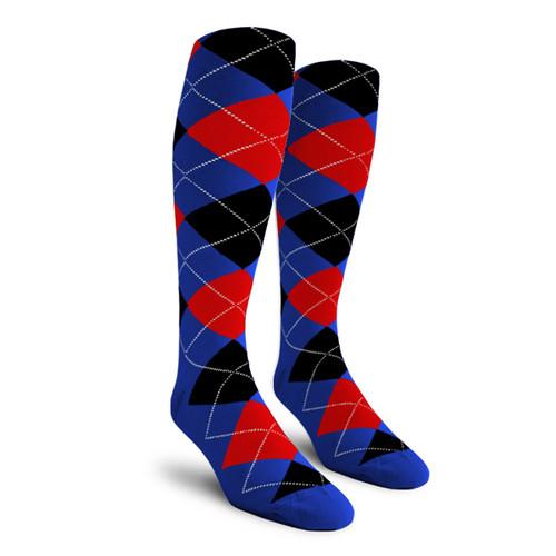 Argyle Socks - Ladies Over-the-Calf - 5J: Royal/Red/Black