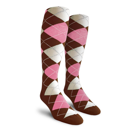 Argyle Socks - Ladies Over-the-Calf - AAAA: Brown/Pink/White