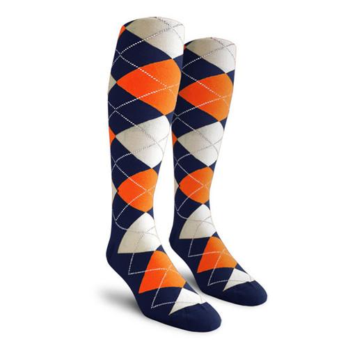 Argyle Socks - Ladies Over-the-Calf - LLLL: Navy/Orange/White