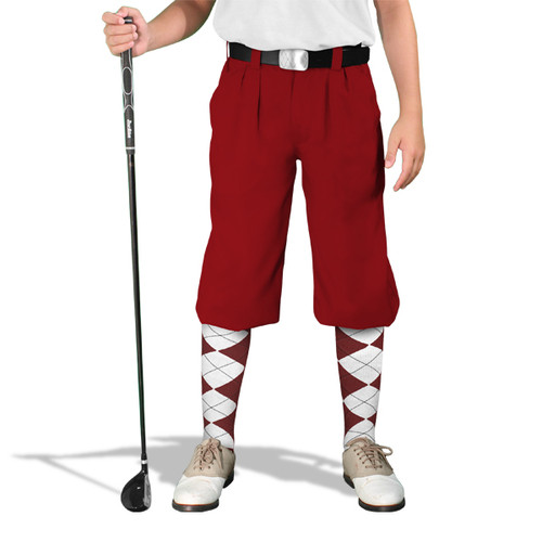 Golf Knickers - 'Par 4' Youth Maroon Cotton