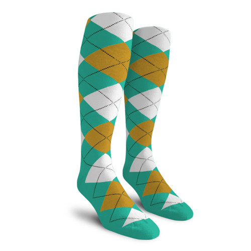 Argyle Socks - Ladies Over-the-Calf - 5G: Teal/Bronze/White