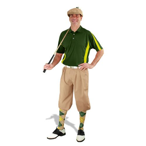 Mens Khaki, Dark Green & Yellow Golf Outfit