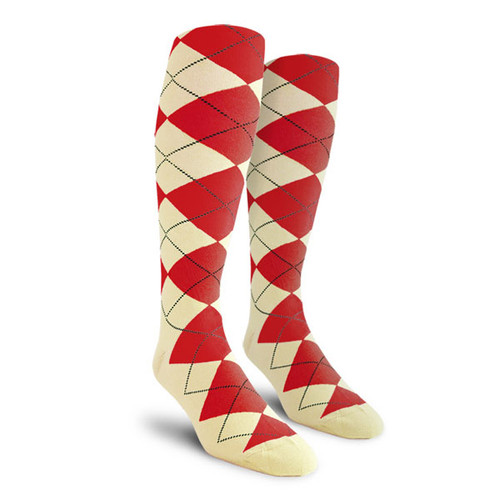 Argyle Socks - Ladies Over-the-Calf - DDD: Natural/Red
