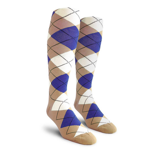Argyle Socks - Ladies Over-the-Calf - WWWW: Khaki/Royal/White
