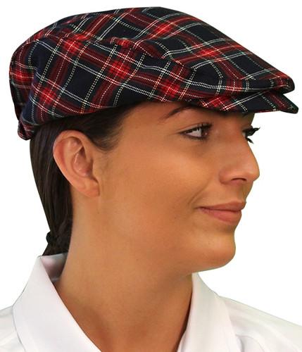 Plaid Golf Cap - 'Par 5' Ladies Navy Stewart