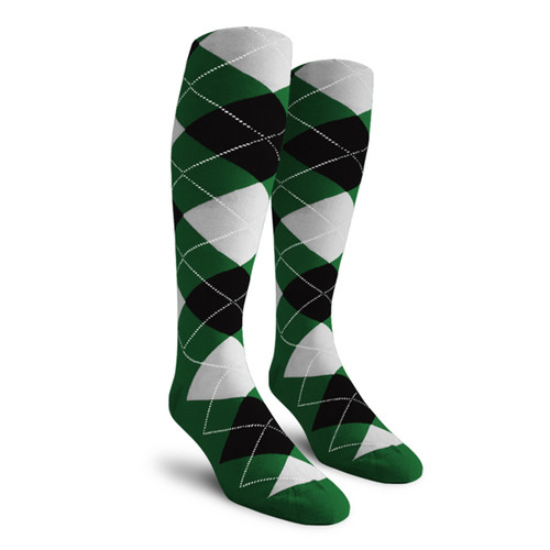 Argyle Socks - Ladies Over-the-Calf - 5H: Dark Green/Black/White