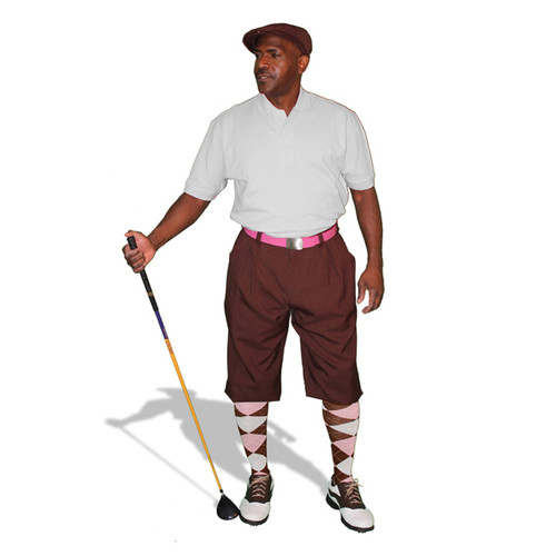 Mens Brown, Pink & White Golf Outfit