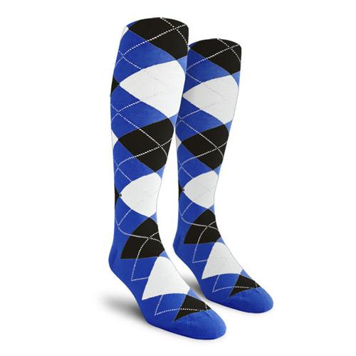 Argyle Socks - Mens Over-the-Calf - QQ: Royal/Black/White