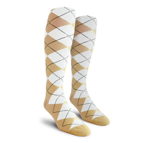 Argyle Socks - Ladies Over-the-Calf - GGG: Khaki/White