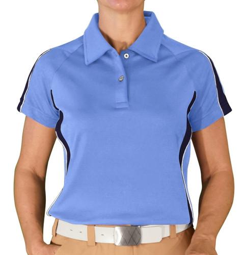 Ladies Eagle Golf Shirt - Light Blue/Navy