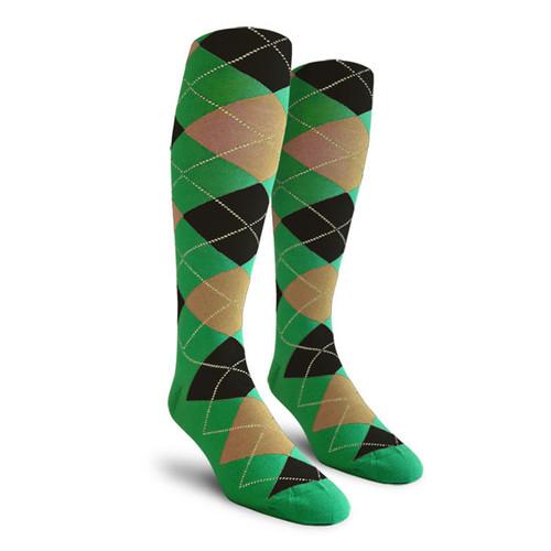 Argyle Socks - Mens Over-the-Calf - MMM: Lime/Khaki/Black