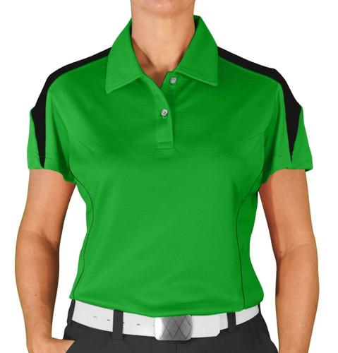 Ladies Caddie Golf Shirt - Lime/Black