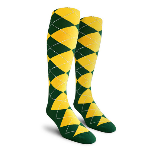 Argyle Socks - Mens Over-the-Calf - EEE: Dark Green/Yellow