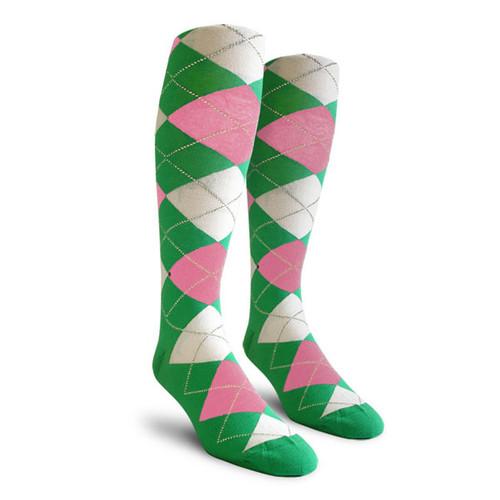 Argyle Socks - Ladies Over-the-Calf - NNN: Lime/Pink/White