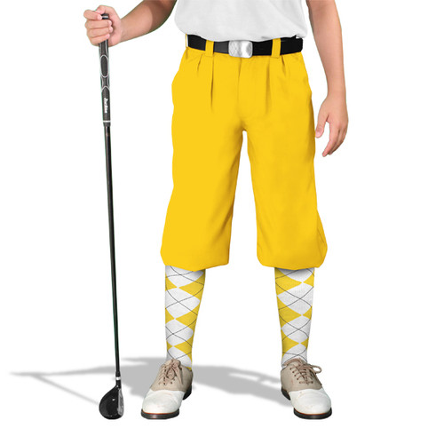 Golf Knickers - 'Par 4' Youth Yellow Cotton