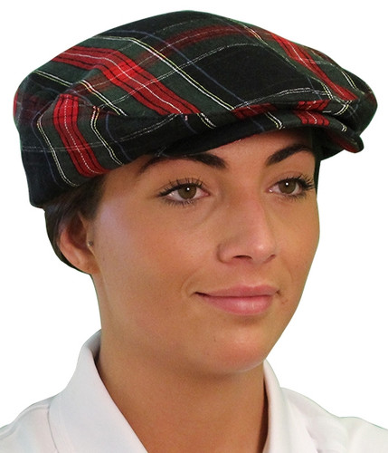 Plaid Golf Cap - 'Par 5' Ladies Black Stewart