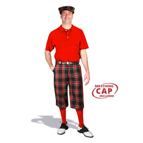 Golf Outfit - Mens Black Stewart & Red