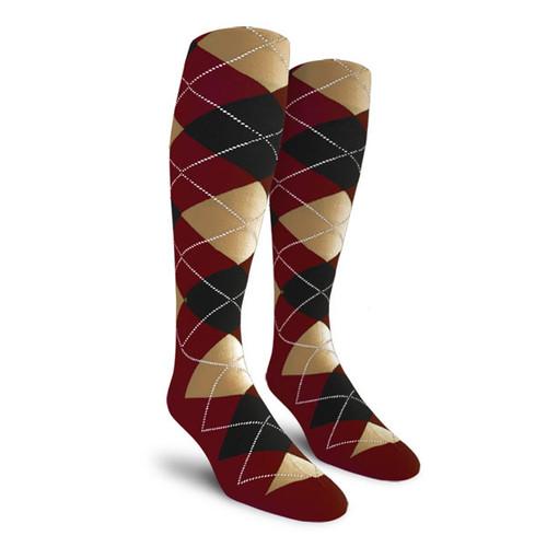 Argyle Socks - Mens Over-the-Calf - CCCC: Maroon/Black/Khaki