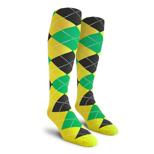 Argyle Socks - Mens Over-the-Calf - QQQ: Yellow/Lime/Black