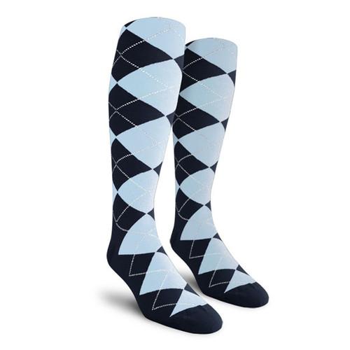 Argyle Socks - Ladies Over-the-Calf - ZZ: Navy/Light Blue