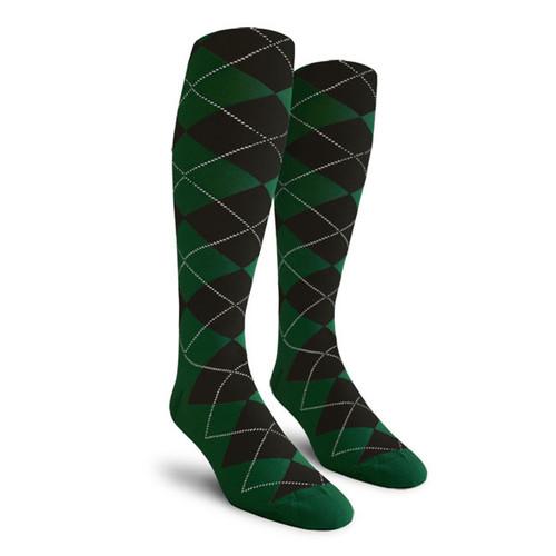 Argyle Socks - Ladies Over-the-Calf - GG: Dark Green/Black