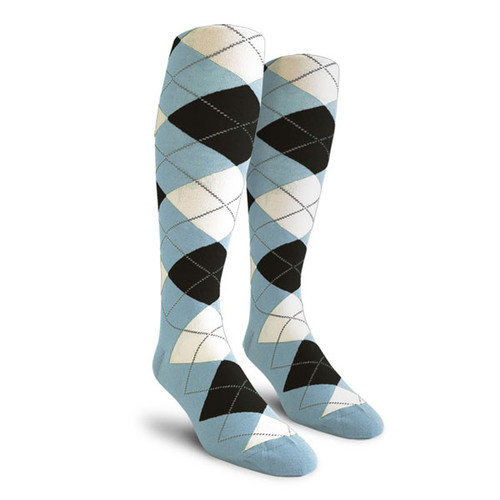 Argyle Socks - Ladies Over-the-Calf - YYYY: Light Blue/Black/White