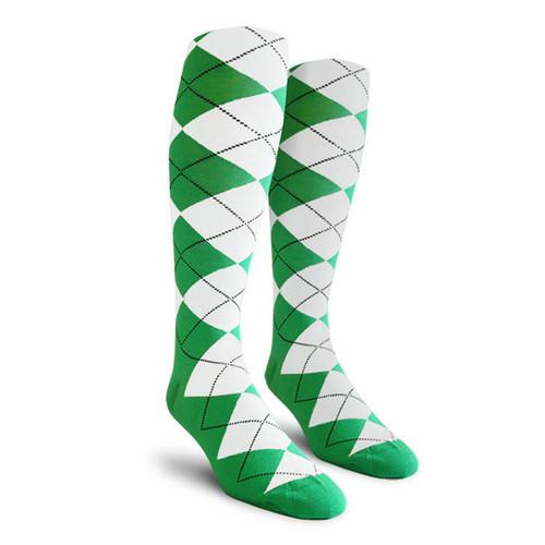 Argyle Socks - Ladies Over-the-Calf - AA: Lime/White