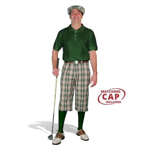Golf Outfit - Mens Khaki Stewart & Dark Green