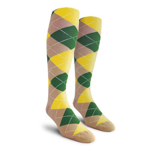 Argyle Socks - Ladies Over-the-Calf - KKK: Khaki/Dark Green/Yellow