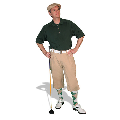 Mens Khaki, Dark Green & White Golf Outfit