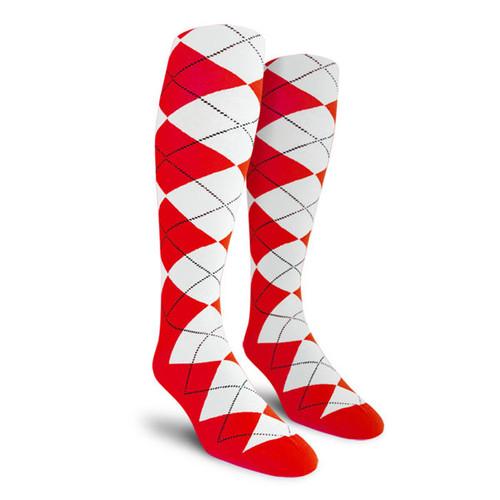 Argyle Socks - Mens Over-the-Calf - S: Red/White