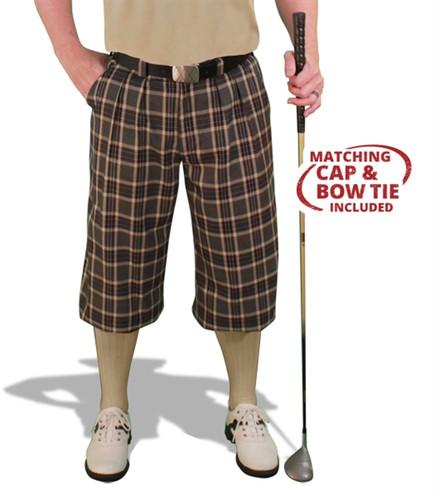 Plaid Golf Knickers, Cap & Bow Tie - 'Par 5' Mens Carolina