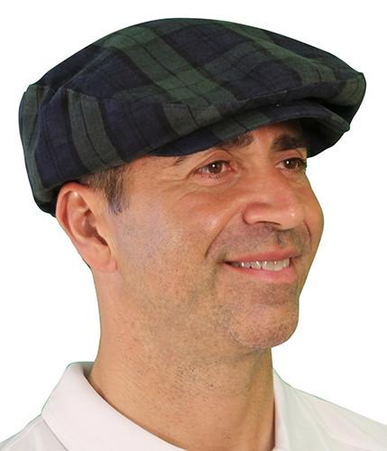 Plaid Golf Cap - 'Par 5' Mens Black Watch