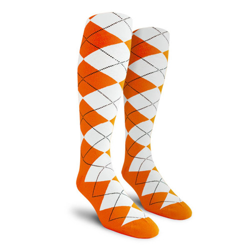 Argyle Socks - Mens Over-the-Calf - X: Orange/White