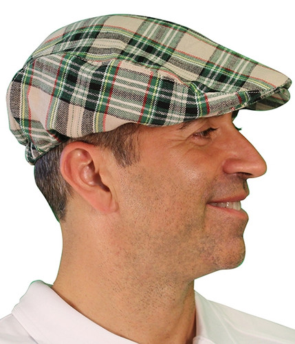 Plaid Golf Cap - 'Par 5' Mens Khaki Stewart