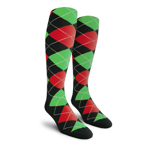 Argyle Socks - Mens Over-the-Calf - G: Black/Red/Lime
