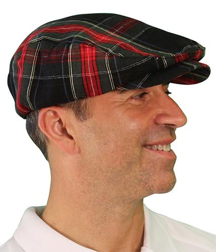 Plaid Golf Cap - 'Par 5' Mens Black Stewart