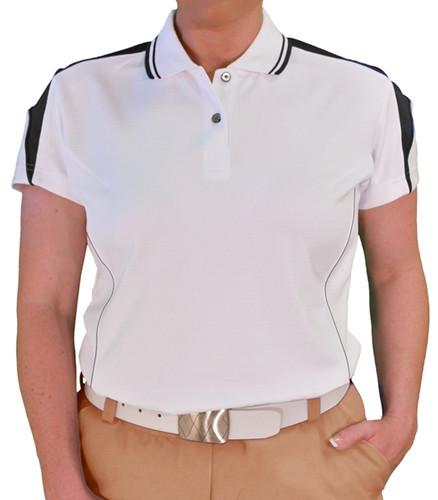 Ladies Wedge Golf Shirt - White/Black