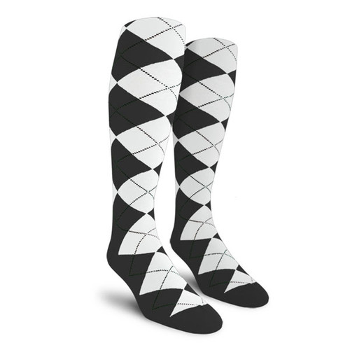Argyle Socks - Mens Over-the-Calf - O: Charcoal/White