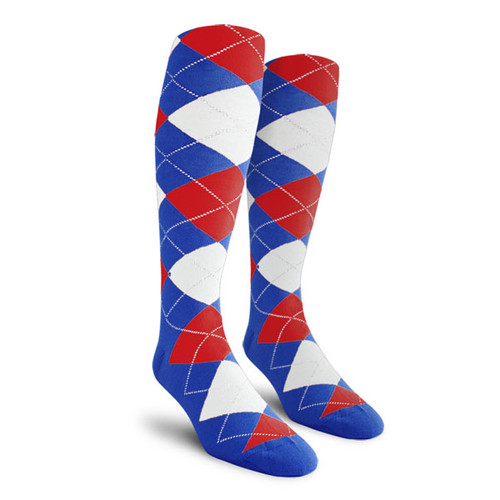 Argyle Socks - Ladies Over-the-Calf - PPPP: Royal/Red/White