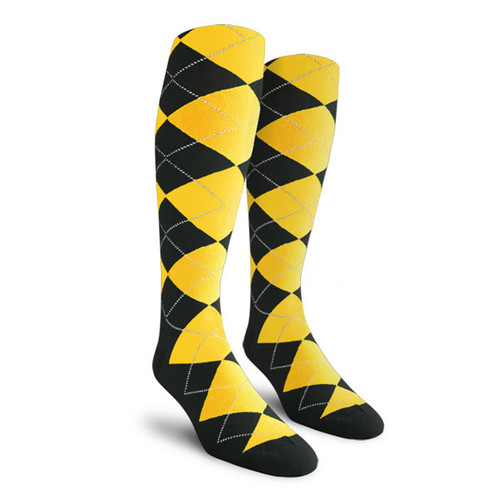 Argyle Socks - Mens Over-the-Calf - I: Black/Yellow