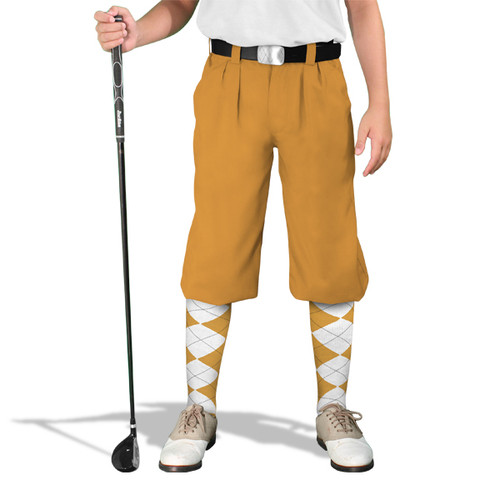 Golf Knickers - 'Par 4' Youth Gold Cotton