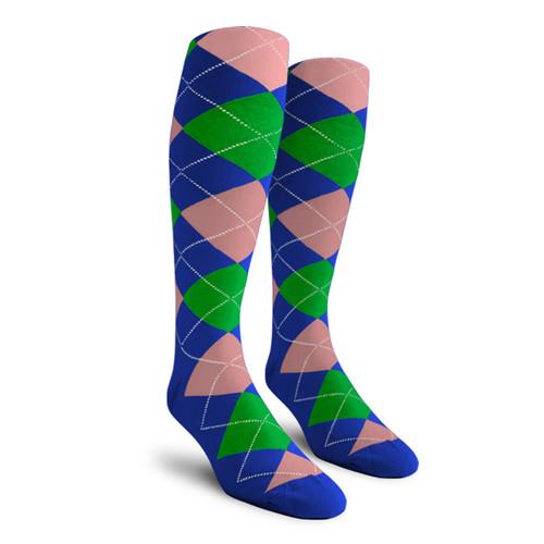 Argyle Socks - Ladies Over-the-Calf - 5M: Royal/Lime/Pink