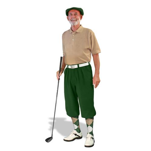Mens Dark Green, Khaki & White Golf Outfit