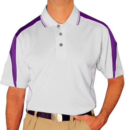 Mens Wedge Golf Shirt - White/Purple